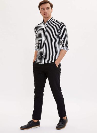 DeFacto Çizgili Modern Fit Gömlek Siyah